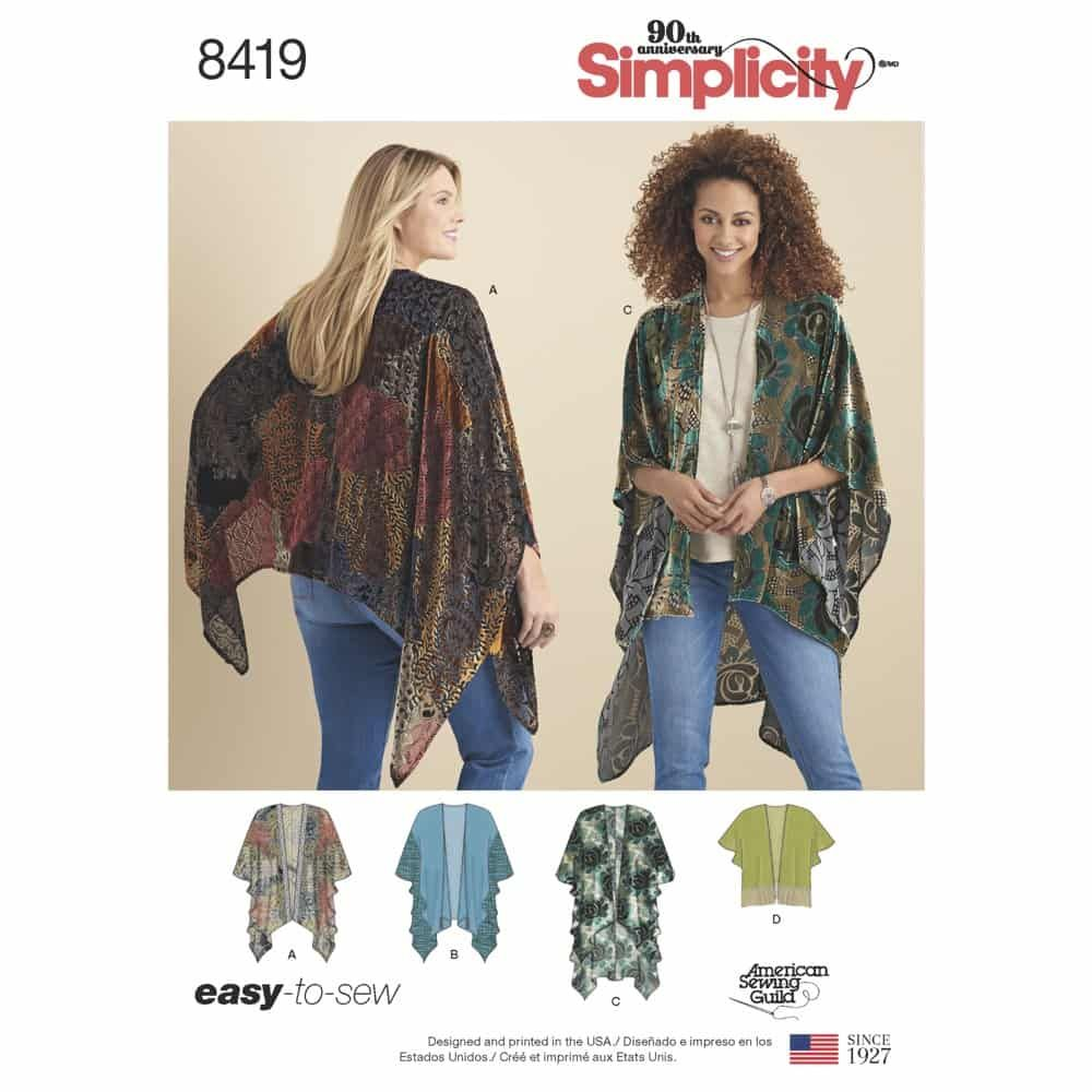 Simplicity Sewing Pattern 8419  Misses' Kimono Style Wrap with Variations
