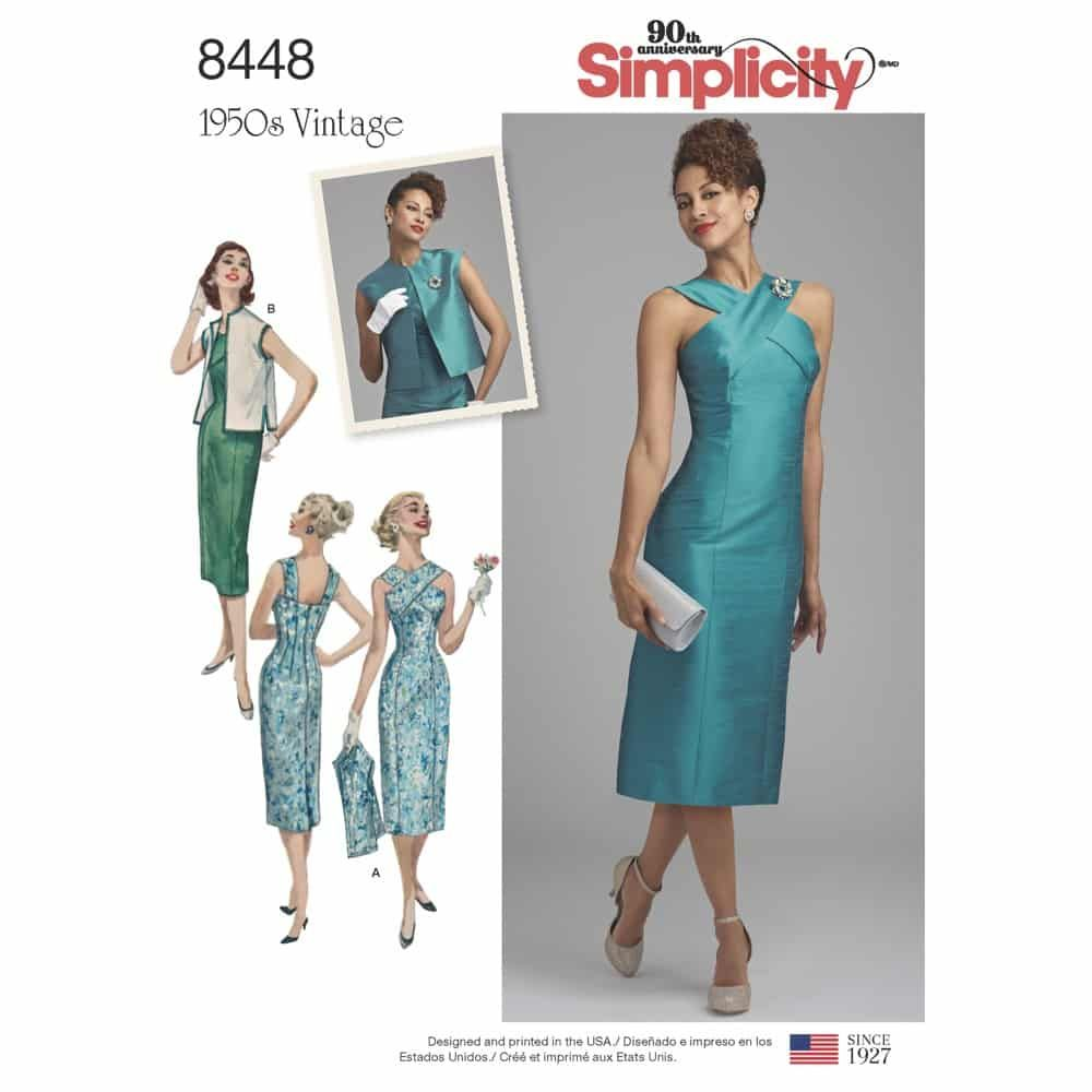 Simplicity Sewing Pattern 8448  Misses' Vintage Dress and Lined or Unlined Vest