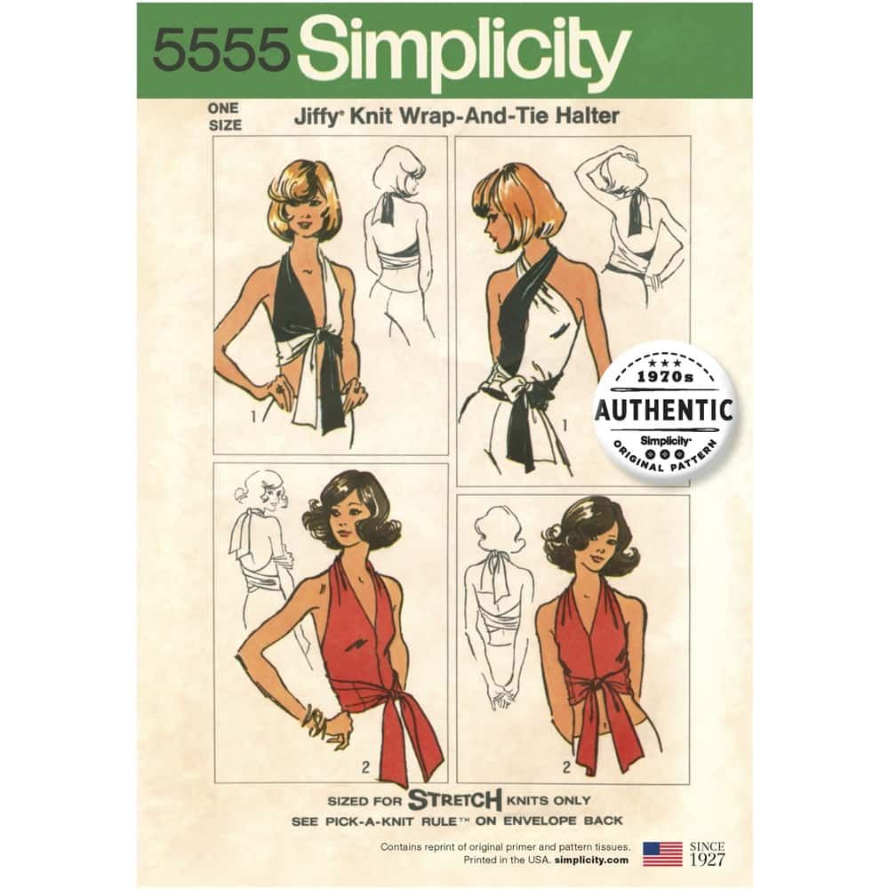 Simplicity Sewing Pattern 5555 -  Womens Vintage Jiffy Knit Wrap & Tie Top