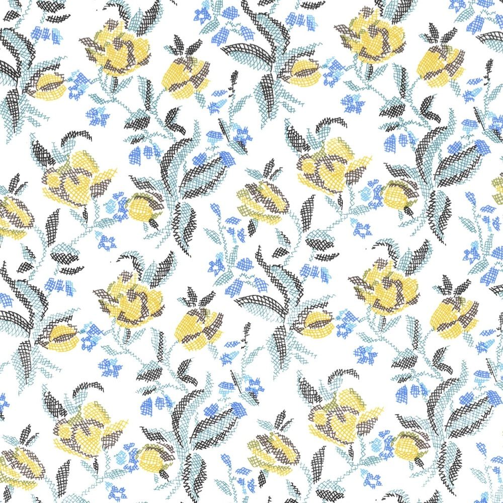 Regency Cotton Lawn Fabric - Sketched Flowers