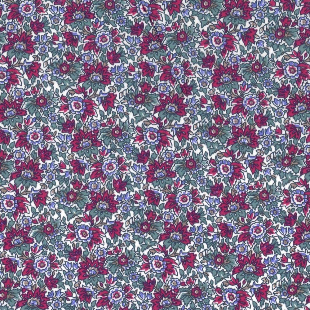 Regency Cotton Lawn Fabric - Small Red Flowers