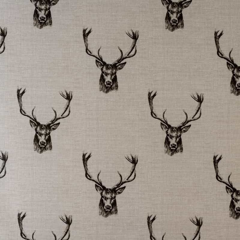 Laminated Cotton - Stags - Charcoal