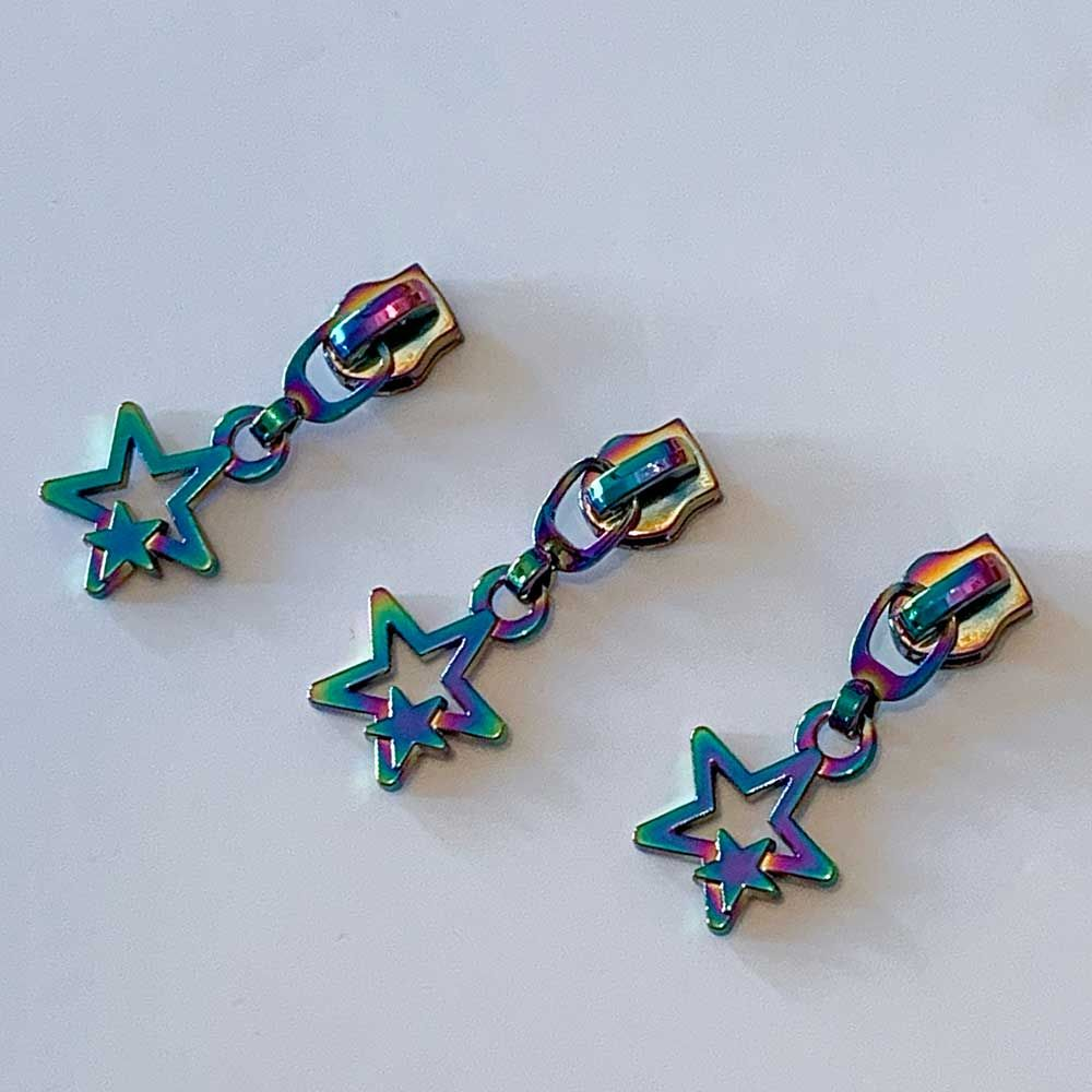 Metal Replacement Zip Pull - For #5 Nylon Zips - Rainbow Star Zipper Pull