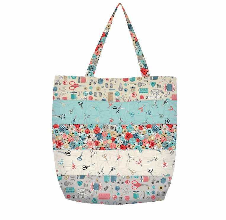 Makower - Stitch In Time - Striped Tote Bag Pattern - Free Instant Download