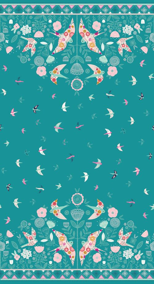 Dashwood Studio - Summer Dance - Swallows 60cm Double Border Panel