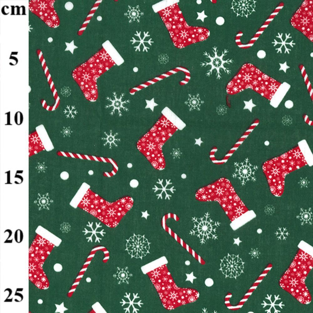 Polycotton - Festive Stockings And Candy Canes On Green