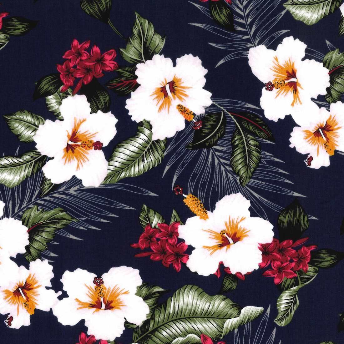 Stretch Cotton Fabric - Tropical Flowers On Navy