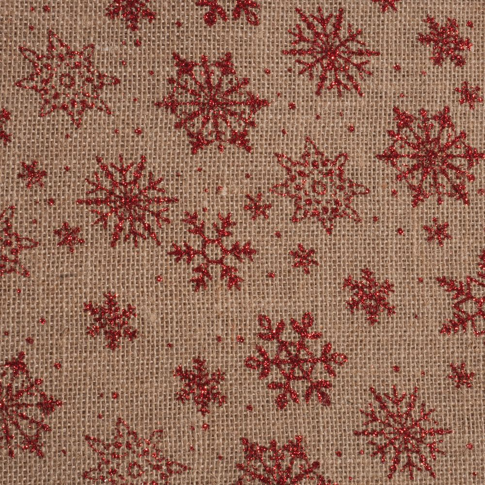 2m Roll of Christmas Hessian Fabric - Red Snowflakes