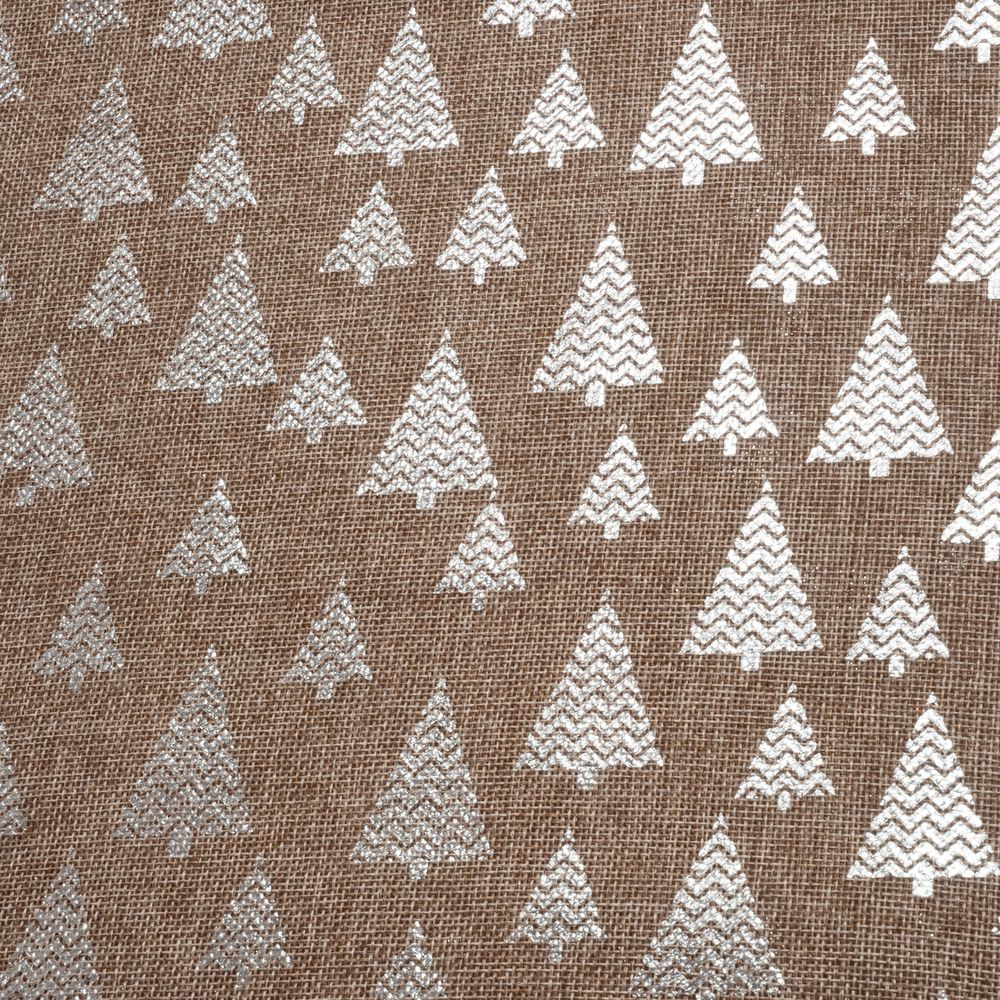 2m Roll of Christmas Hessian Fabric - Silver Trees