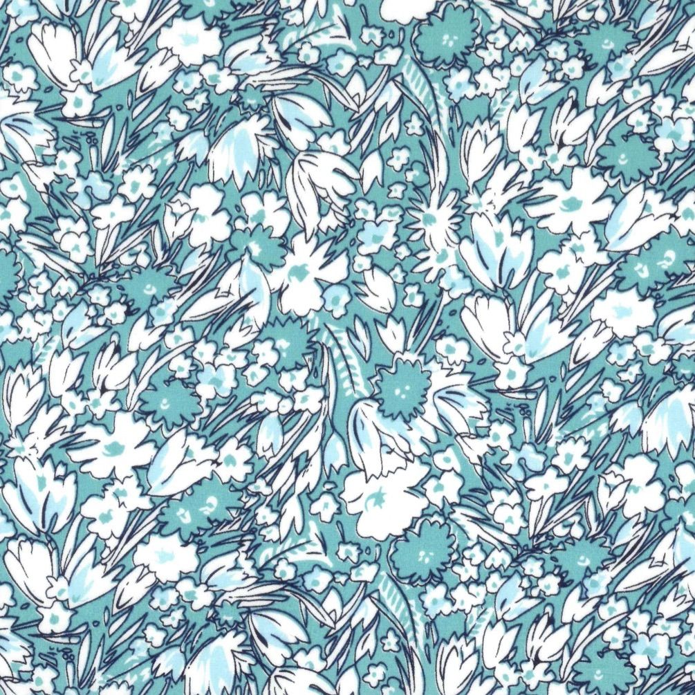 Regency Cotton Lawn Fabric - Turquoise Floral
