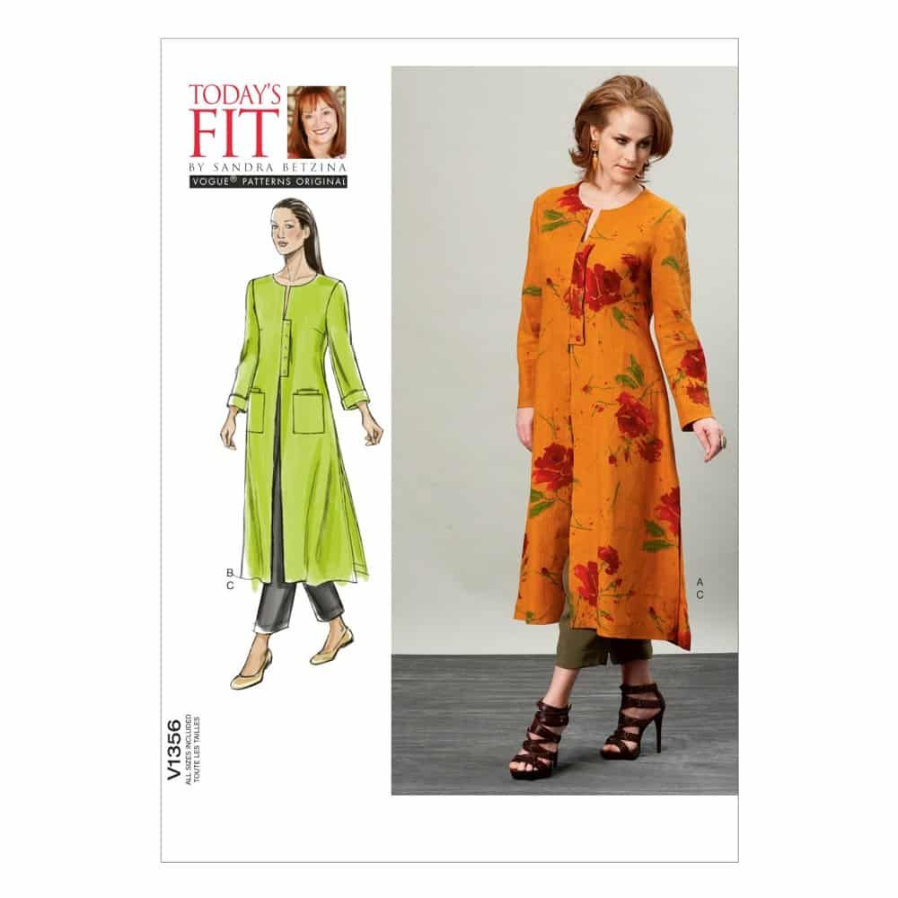 Vogue Sewing Pattern V1356 Misses' Duster and Pants