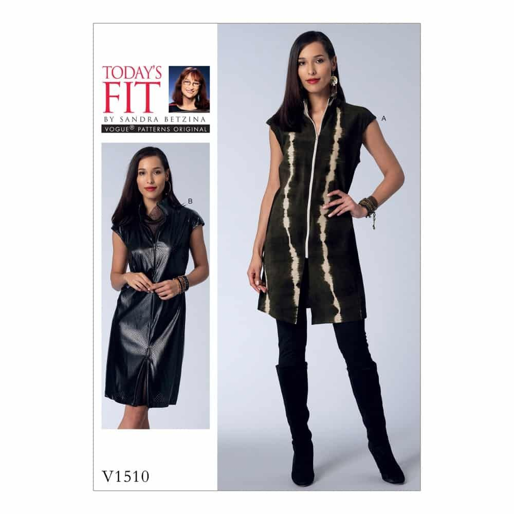Vogue Sewing Pattern V1510 Misses' Zip-Front Tunic and Dress