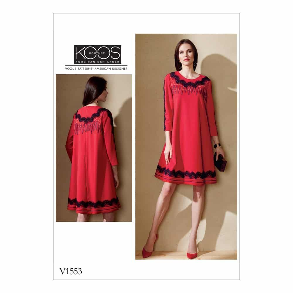 Vogue Sewing Pattern V1553 Misses' Knit Swing Dress with Decorative Trims