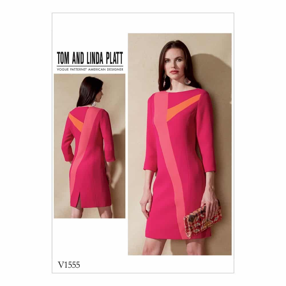 Vogue Sewing Pattern V1555 Misses' Dress with Asymmetrical Insets