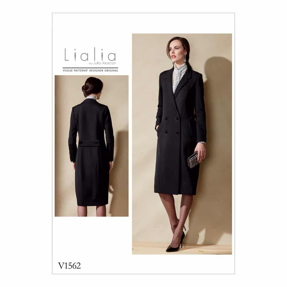 Vogue Sewing Pattern V1562 Misses' Double-Breasted Lined Coat with Back Belt