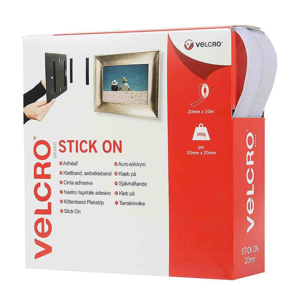 VELCRO® brand Hook & Loop Tape: Stick On 20mm White - 10m Roll