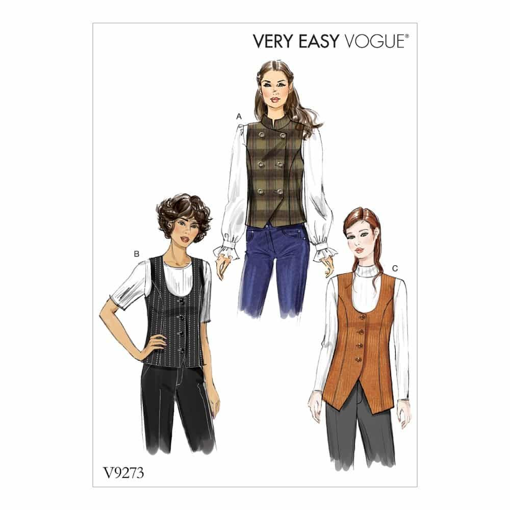 Vogue Sewing Pattern V9273 Misses' Lined Vests with Princess Seams