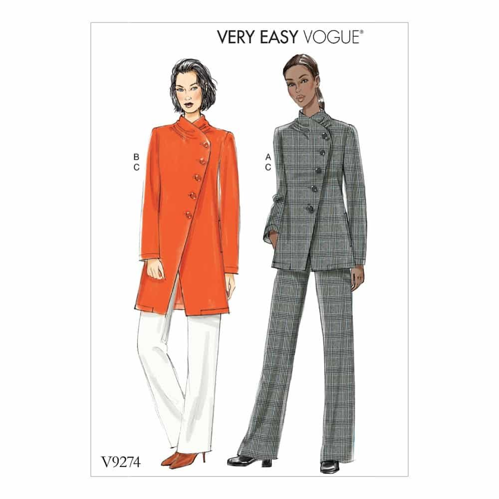 Vogue Sewing Pattern V9274 Misses' Asymmetrical Lined Jacket, and Pull-On Pants