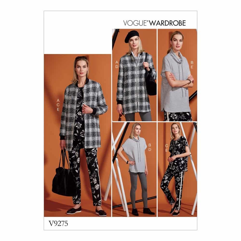Vogue Sewing Pattern V9275 Misses' Lined Zip Jacket, Knit Tunic, Leggings, and Pants
