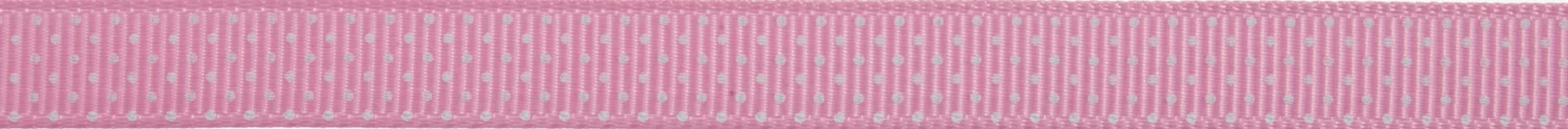 10mm Pink Pin Spots Grosgrain Ribbon 5m Reel