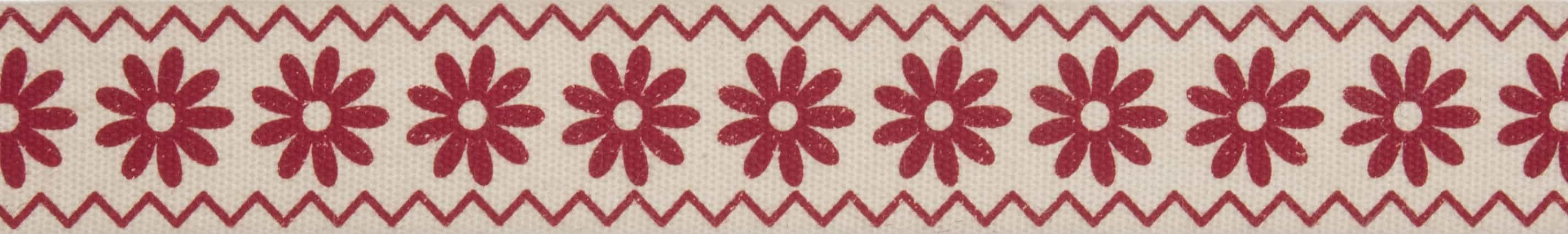 15mm Red Flowers Cotton Ribbon 5m Reel