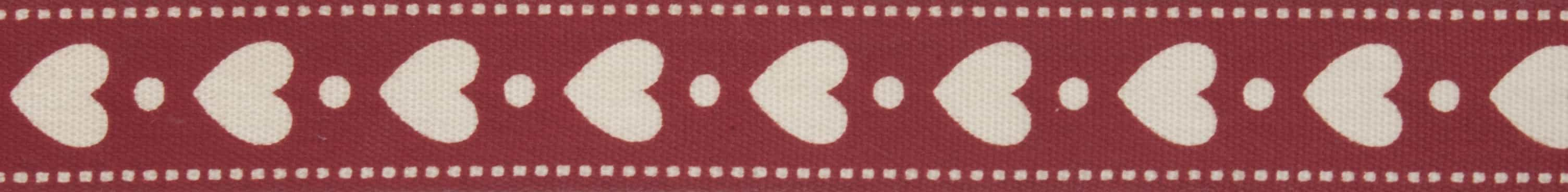 15mm Red Hearts Cotton Ribbon 5m Reel