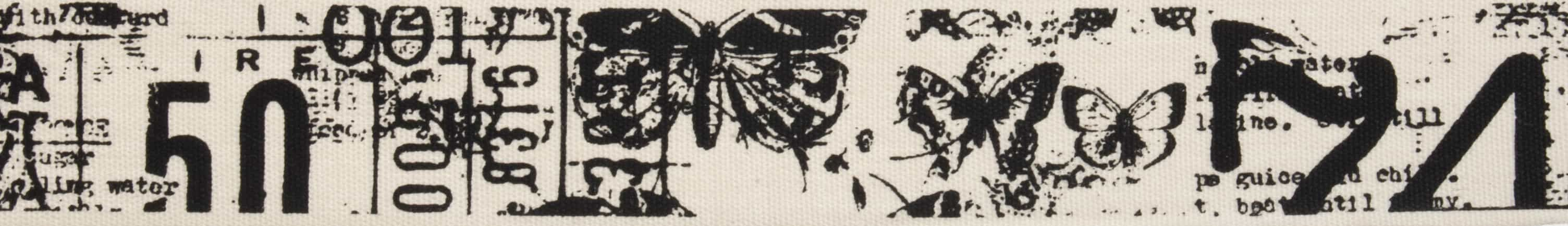 25mm Butterfly Text Cotton Ribbon 5m Reel