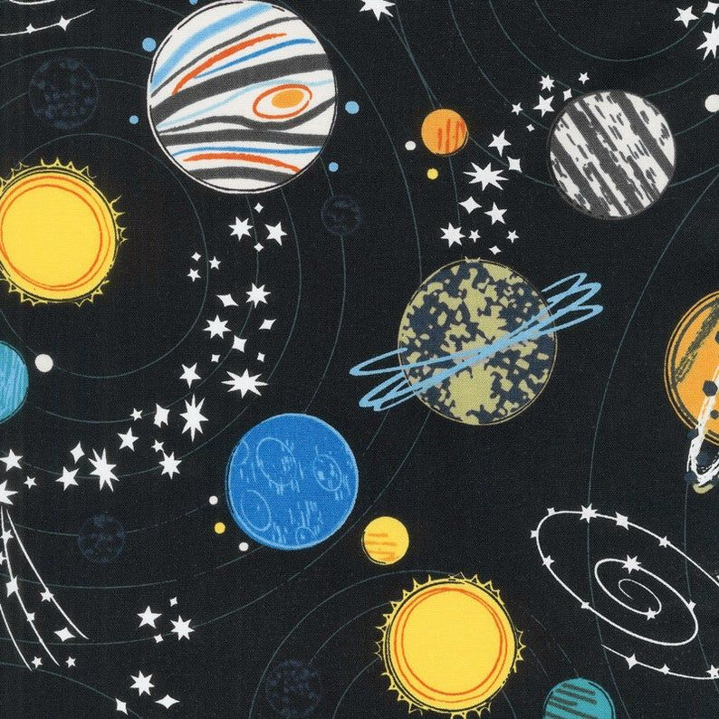 windham Fabrics - Out Of This World - Black Yardage