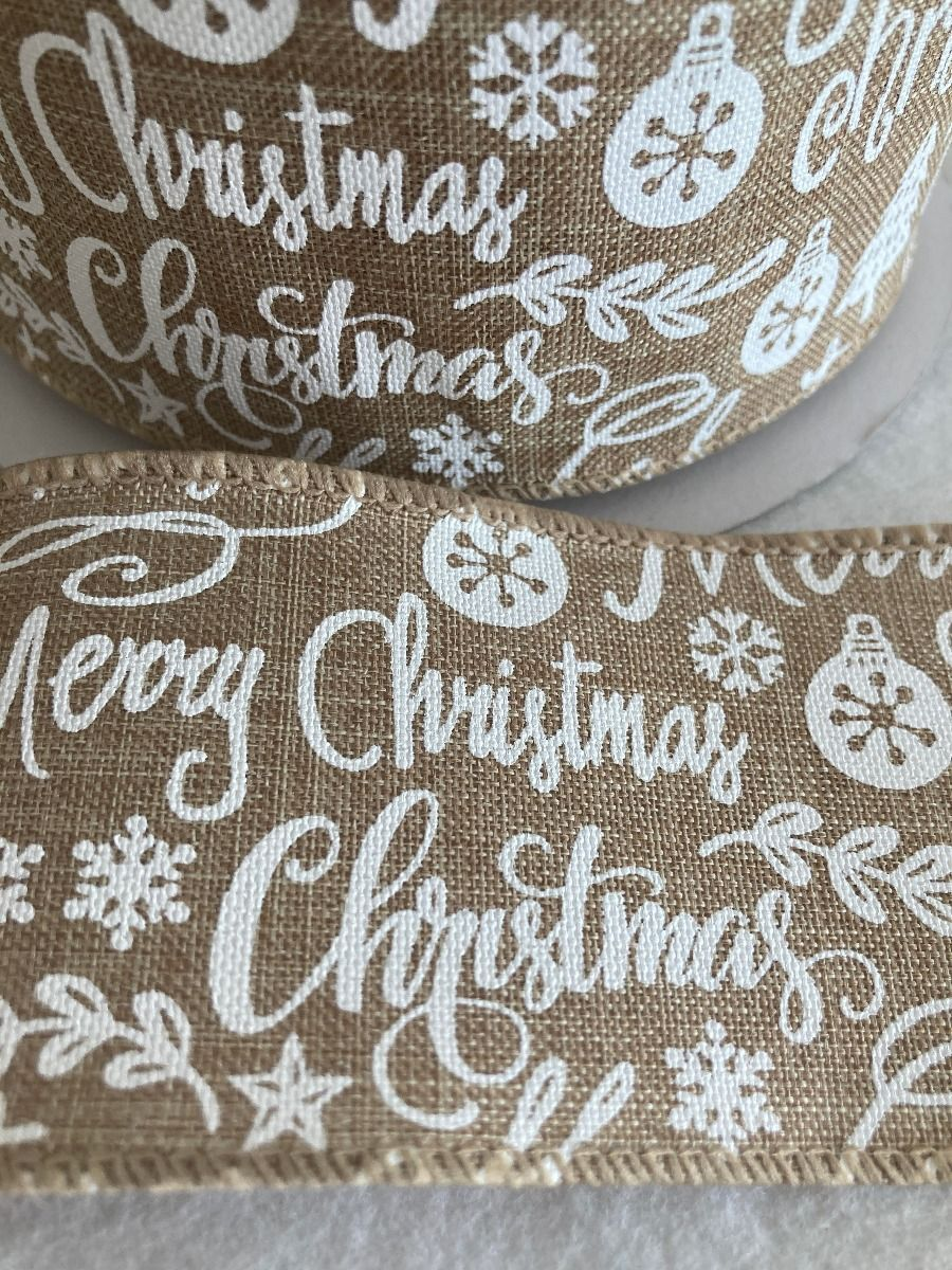 Remnant -Remnant - Wire Edged Christmas Ribbon - White Christmas icons On Hessian - 60mm Wide - 2m LENGTH