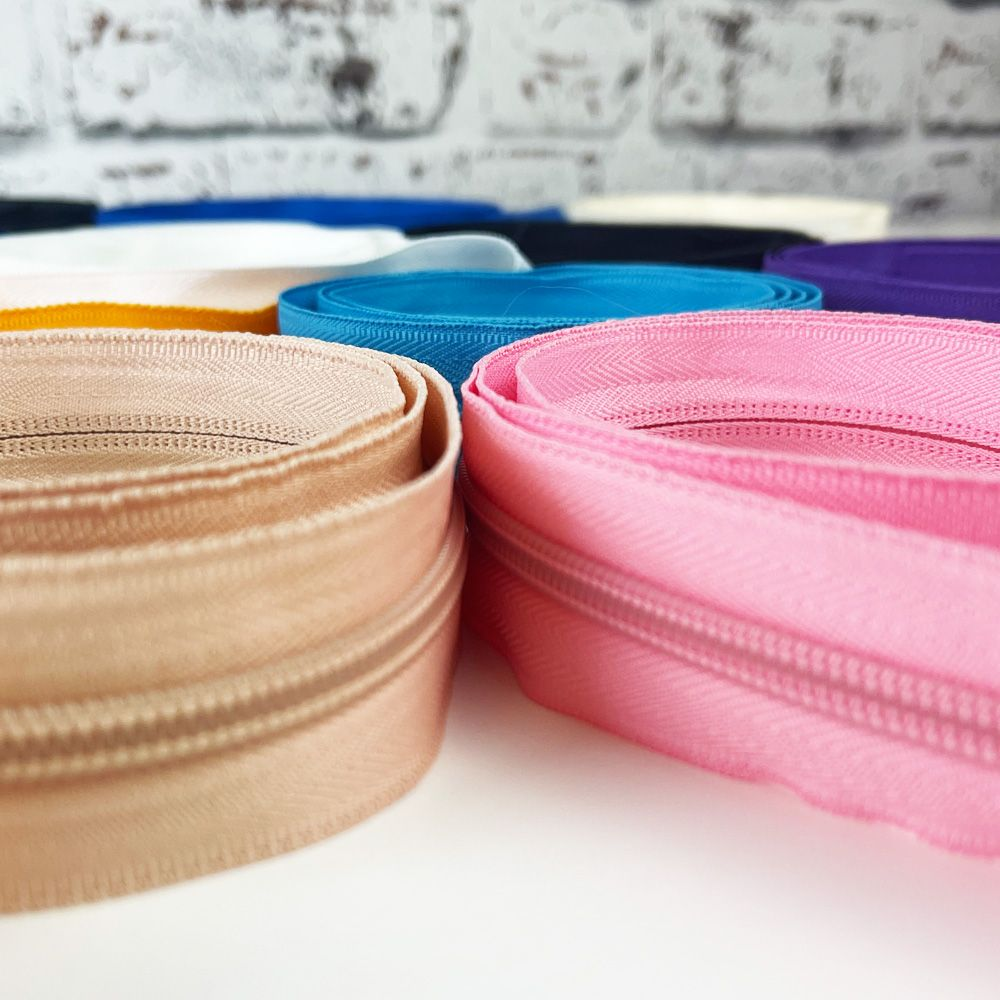 Plain Colour Matching Teeth and Surround Nylon Continuous Zips - #5 Weight - 15 Colours