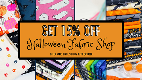 Our Halloween sale is here! Get 15% OFF ALL Halloween Fabric ?